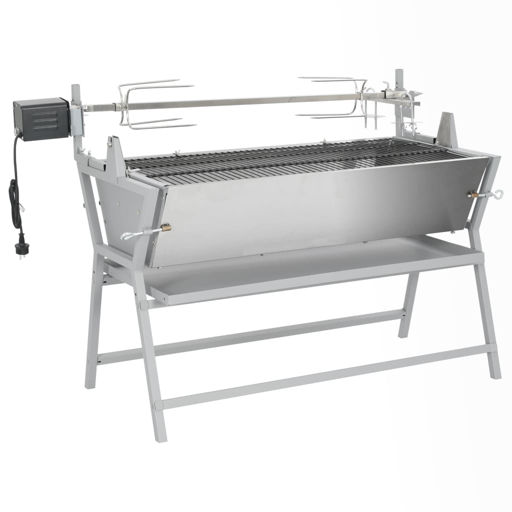 vidaXL Iron and Stainless Steel BBQ Rotisserie Spit