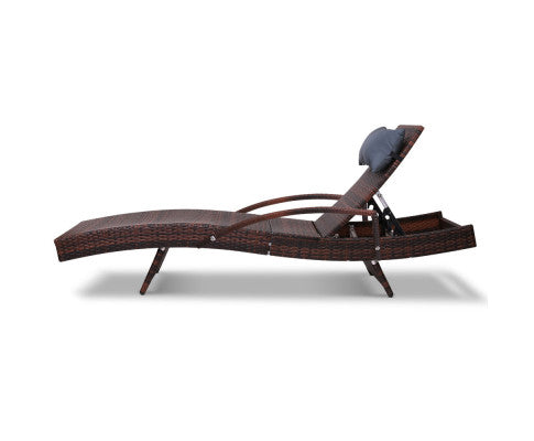 Side View of Sun Lounge Bed Adjustable with All Weather Pillow