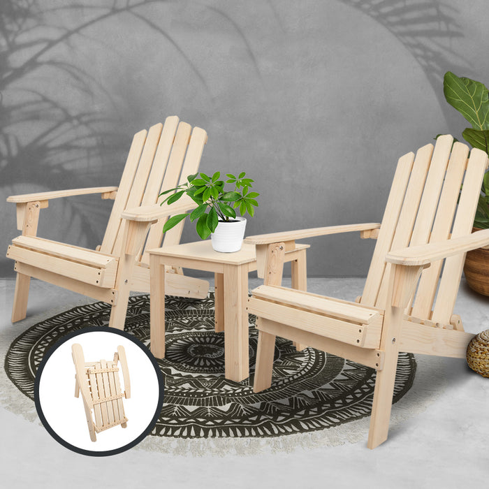 Gardeon 3 Piece Wooden Outdoor Beach Chair and Table Set Adirondack Chairs