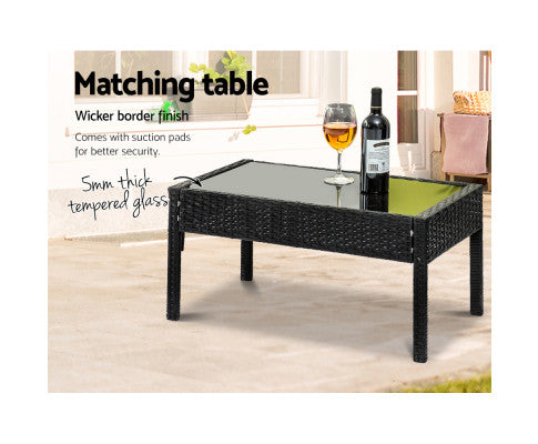 Outdoor Garden Furniture Lounge Settings Tampered Glass & Border Finish