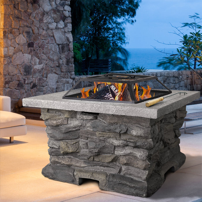 Grillz Stone Base Outdoor Patio Heater Fire Pit Table