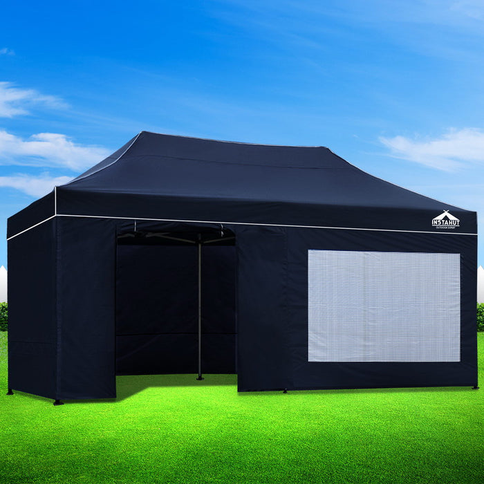 Instahut Aluminium Gazebo Pop Marquee Up 3x6m Outdoor Gazebos Wedding Tent Navy