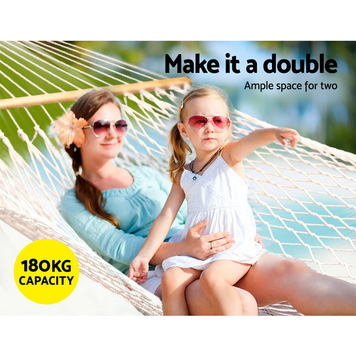 Gardeon Double Swing Hammock Bed Cream
