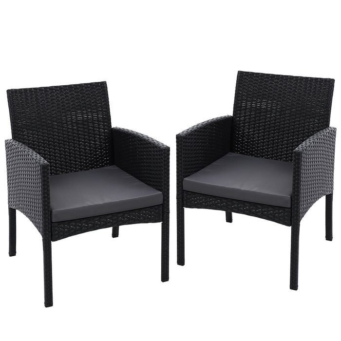 Outdoor Bistro Chairs Patio Furniture Dining Chair Wicker Garden Cushion Gardeon