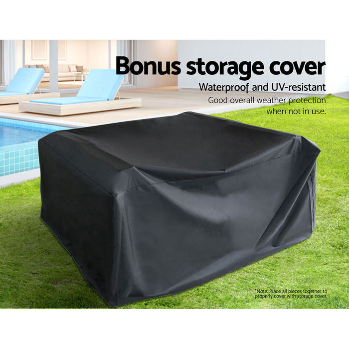 Garden Furniture Outdoor Lounge Setting Wicker Sofa Patio Storage Cover Black