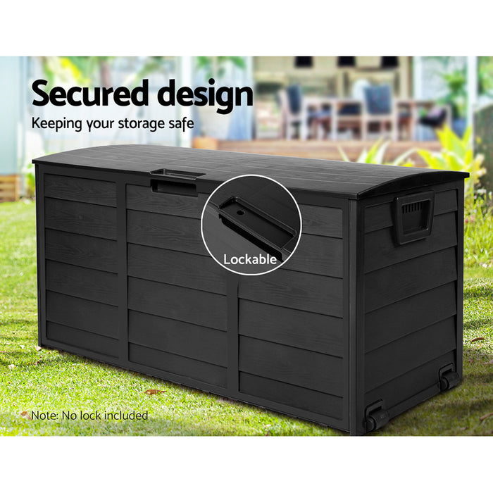290L Outdoor Storage Box Lockable Weatherproof Garden Deck Toy Giantz Shed ALL Black