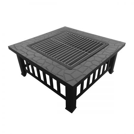 Outdoor Firepit top view with grilling rack