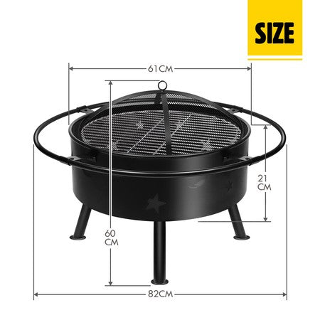 "32"" 2-in-1 Fire Pit BBQ Grill Outdoor Fireplace Brazier Portable Camping Patio Heater"