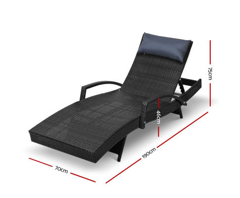Set of 2 Sun Lounge Outdoor Furniture Wicker Lounger Rattan Day Bed Garden Patio Black Dimensions