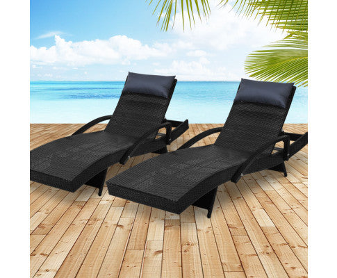 Set of 2 Sun Lounge Wicker Lounger Day Bed