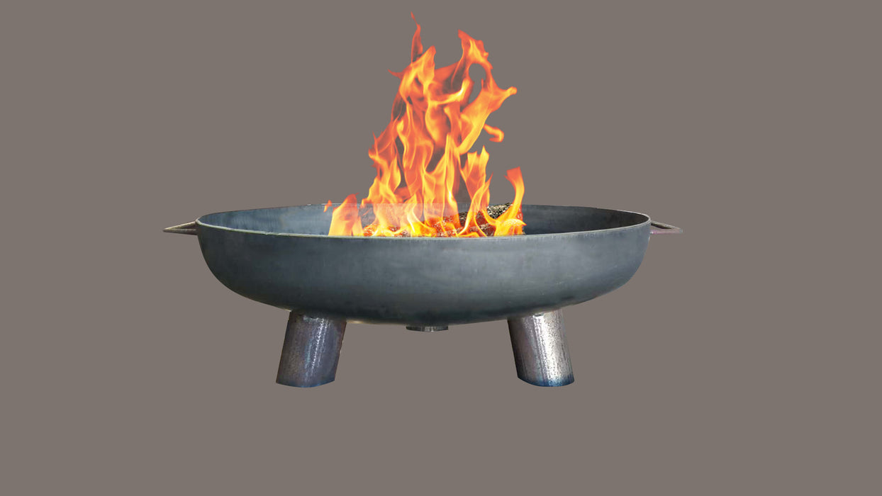 This image shows the side view of the Roma firepit with the flaming magic