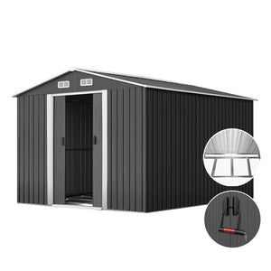 Giantz 2.02 x 3.89m Metal Shed - Grey