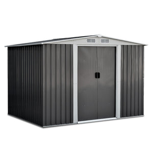 Giantz 2.05 x 2.57m Steel Garden Shed with Roof - Grey