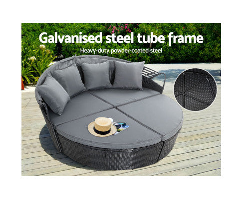 Outdoor Sofa Wicker With Galvanized Steel Tube Frame