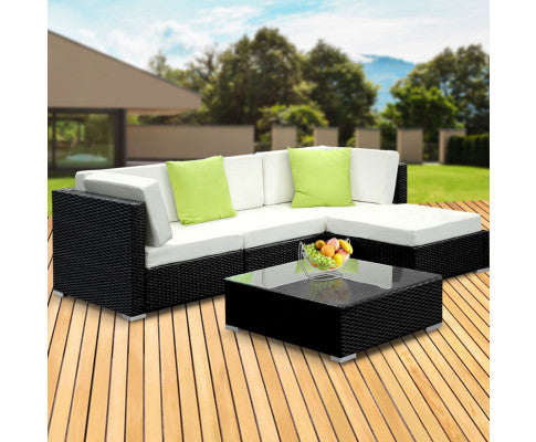 Gardeon 5PC Sofa Set with Storage Cover Outdoor Furniture Wicker, Sofa and Table