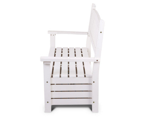 Side View of the Outdoor Storage Bench Box Wooden Garden Chair