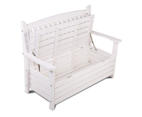 Outdoor Storage Bench Box Wooden Garden Chair with Lid Opened and Inner Part is Visible
