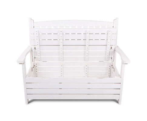 Front View of the Outdoor Storage Bench Box Wooden Garden Chair