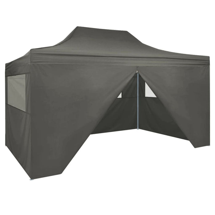 Foldable Tent PopUp with 4 Side Walls 3x4.5 m Anthracite, BBQ Tent, Gazebo