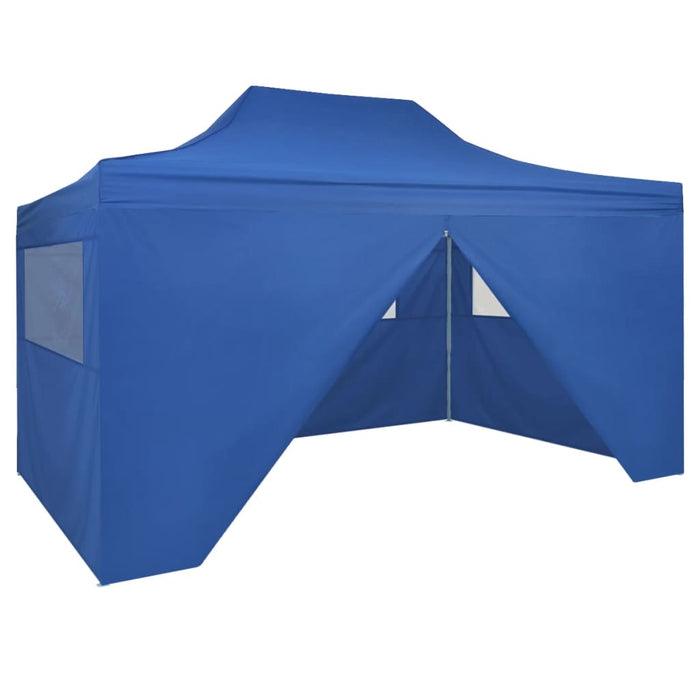 Foldable Tent PopUp with 4 Side Walls 3x4.5 m Blue