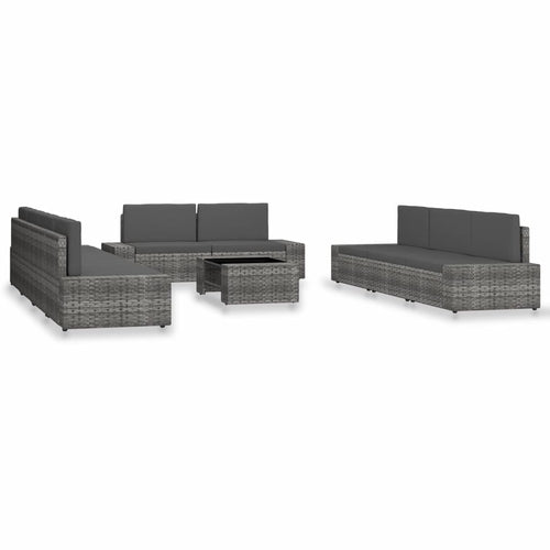 10 Piece Garden Lounge Set Poly Rattan Grey Outdoor Furniture, Outdoor Furniture Set