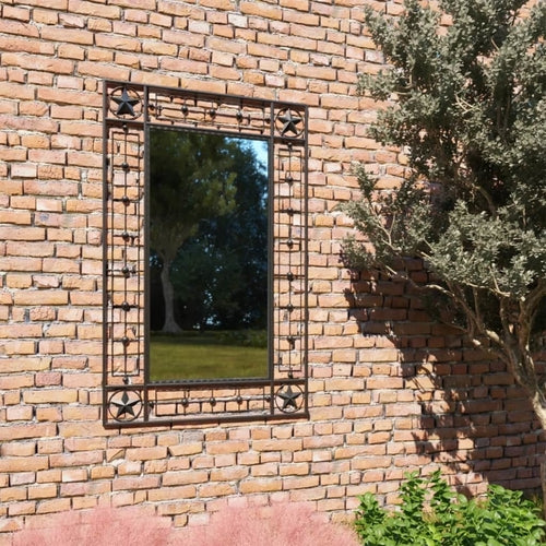 vidaXL Garden Wall Mirror Rectangular 50x80 cm Black