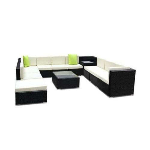12pc Sofa Set with Storage Cover Outdoor Furniture Wicker