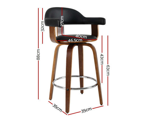 Dimensions of the Artiss Set of 2 Bar Stools Wooden Swivel Bar Stool Kitchen Dining Chair Wood Black