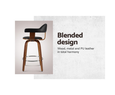 Barstool with Blended Design Comprising Metal, PU Leather and Wood