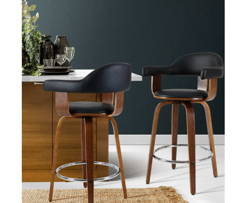 2 Barstool with Metal Footrest and Anti-slip Feet