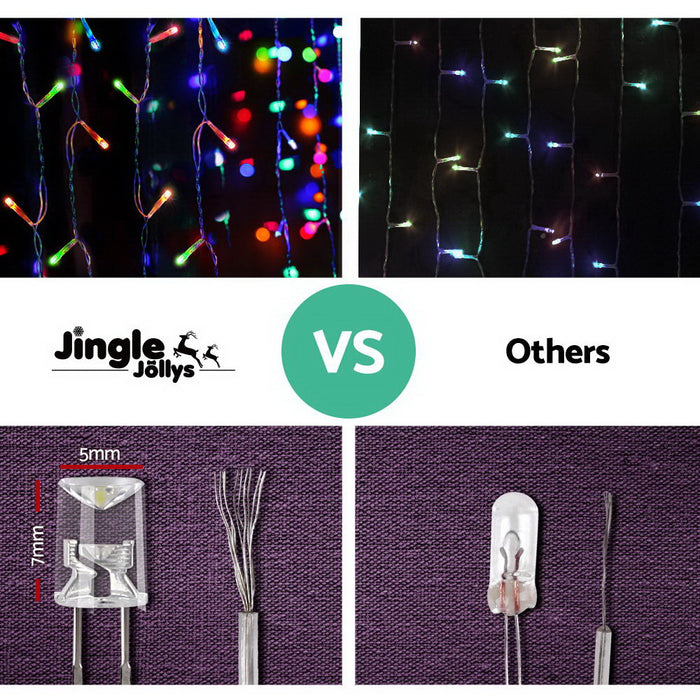 Jingle Jollys 500 LED Christmas Icicle Lights 20M Outdoor Fairy String Party Wedding Multicolour