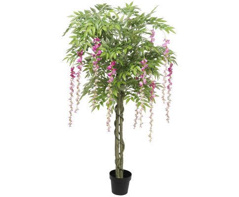 Pink Flowering Artificial Wisteria 180cm, Artificial Garden Plant