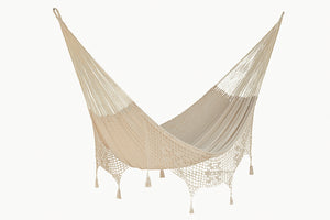 Deluxe Outdoor Cotton Mexican Hammock  in Cream Colour King Size