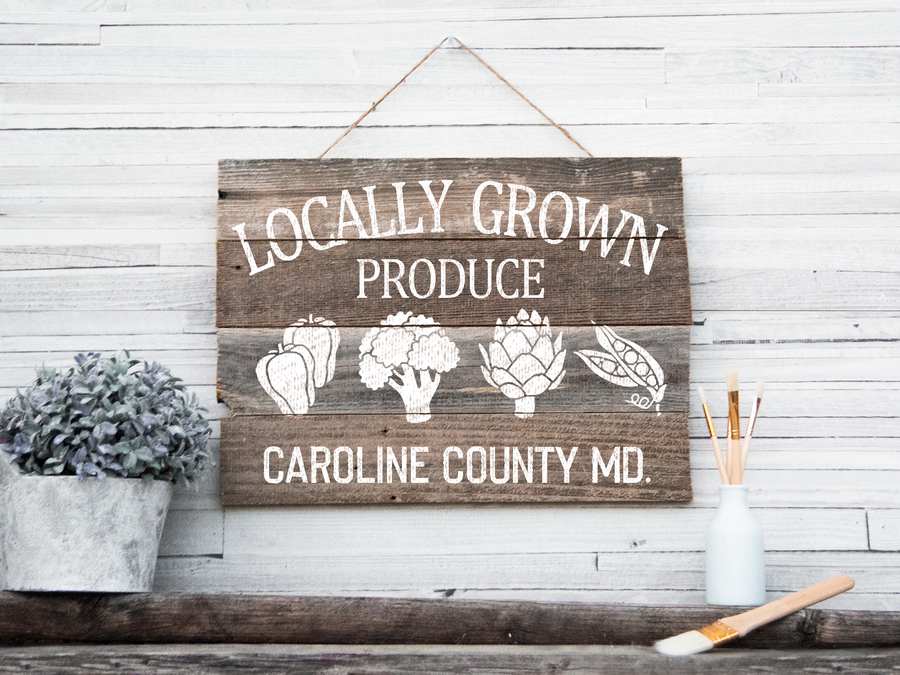 Personalized produce barn wood sign