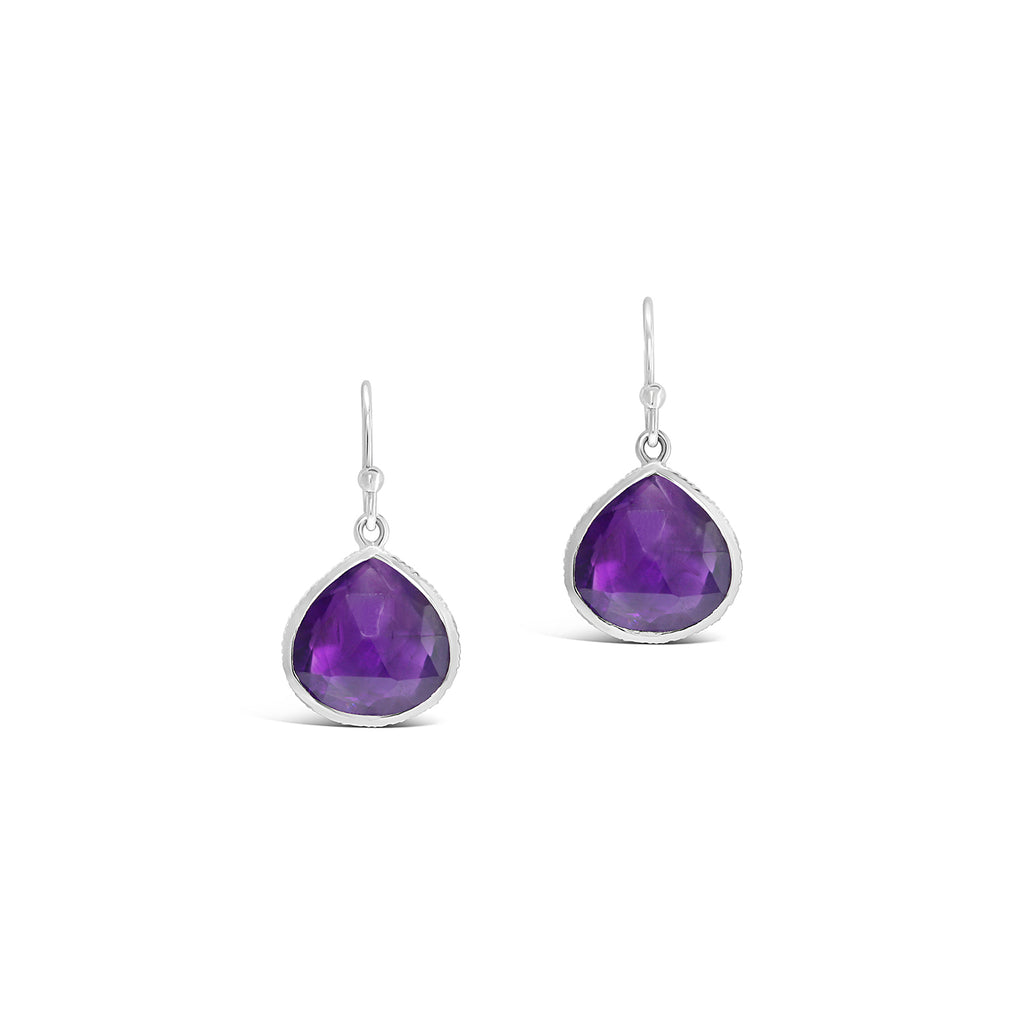 Real Gemstone Single Drop Earrings (Amethyst)
