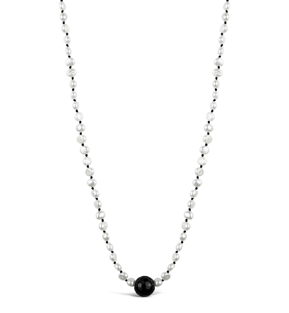 Short Baroque Pearl & Faceted Onyx Necklace
