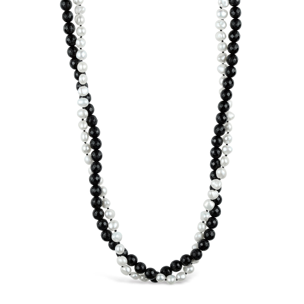 Baroque Pearl & Faceted Onyx Twisted Necklace