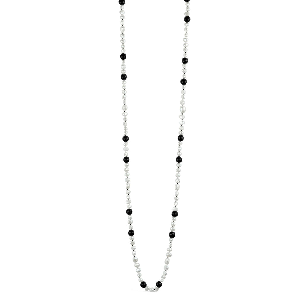 Baroque Pearl & Faceted Onyx Flapper Necklace