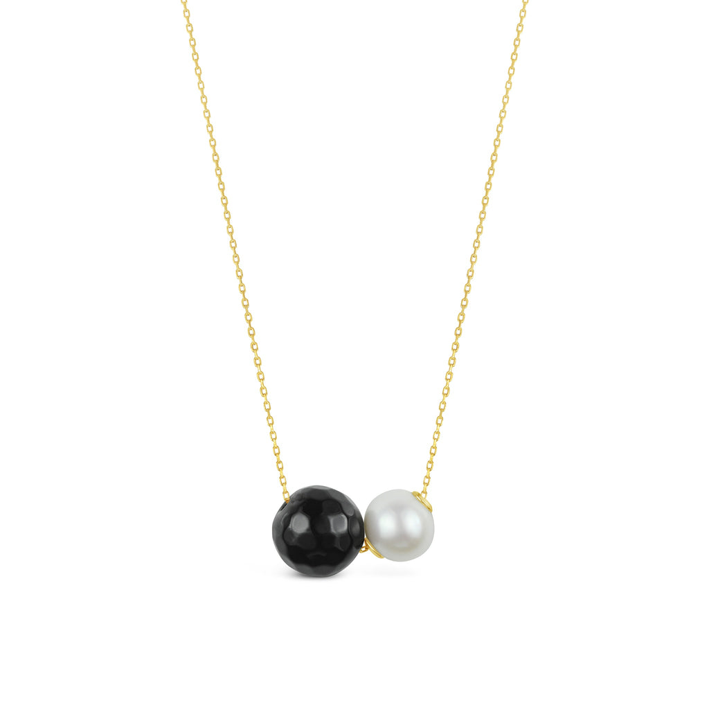 Real Freshwater Pearl & Faceted Onyx Double Slider Necklace