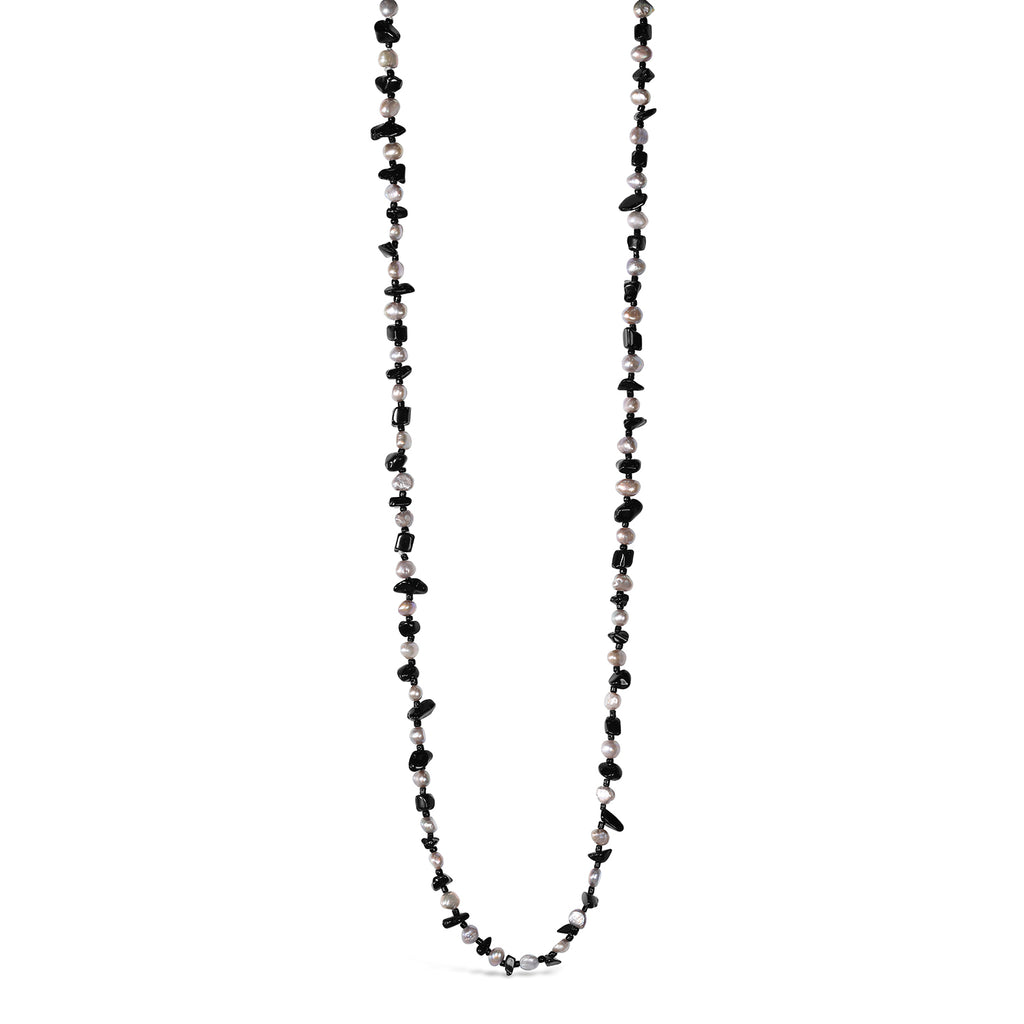 Long Freshwater Pearl & Onyx Necklace