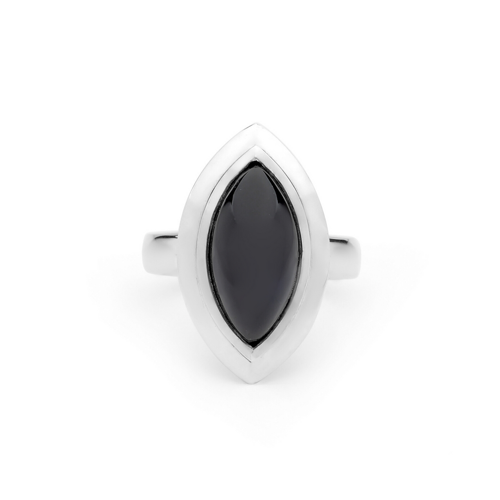 Portrait Adorn Black Marquise Spinel Ring
