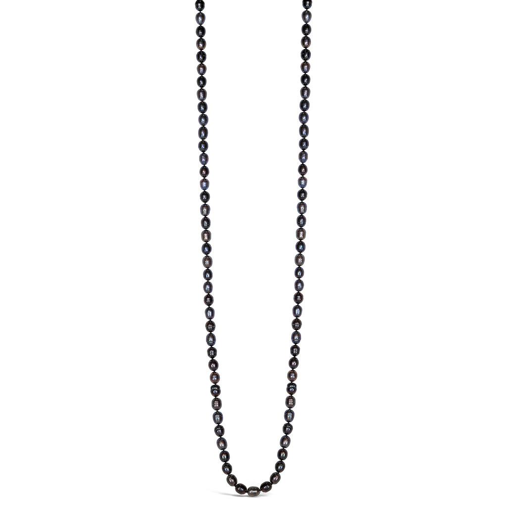 Long Baroque Pearl Necklace (Black)