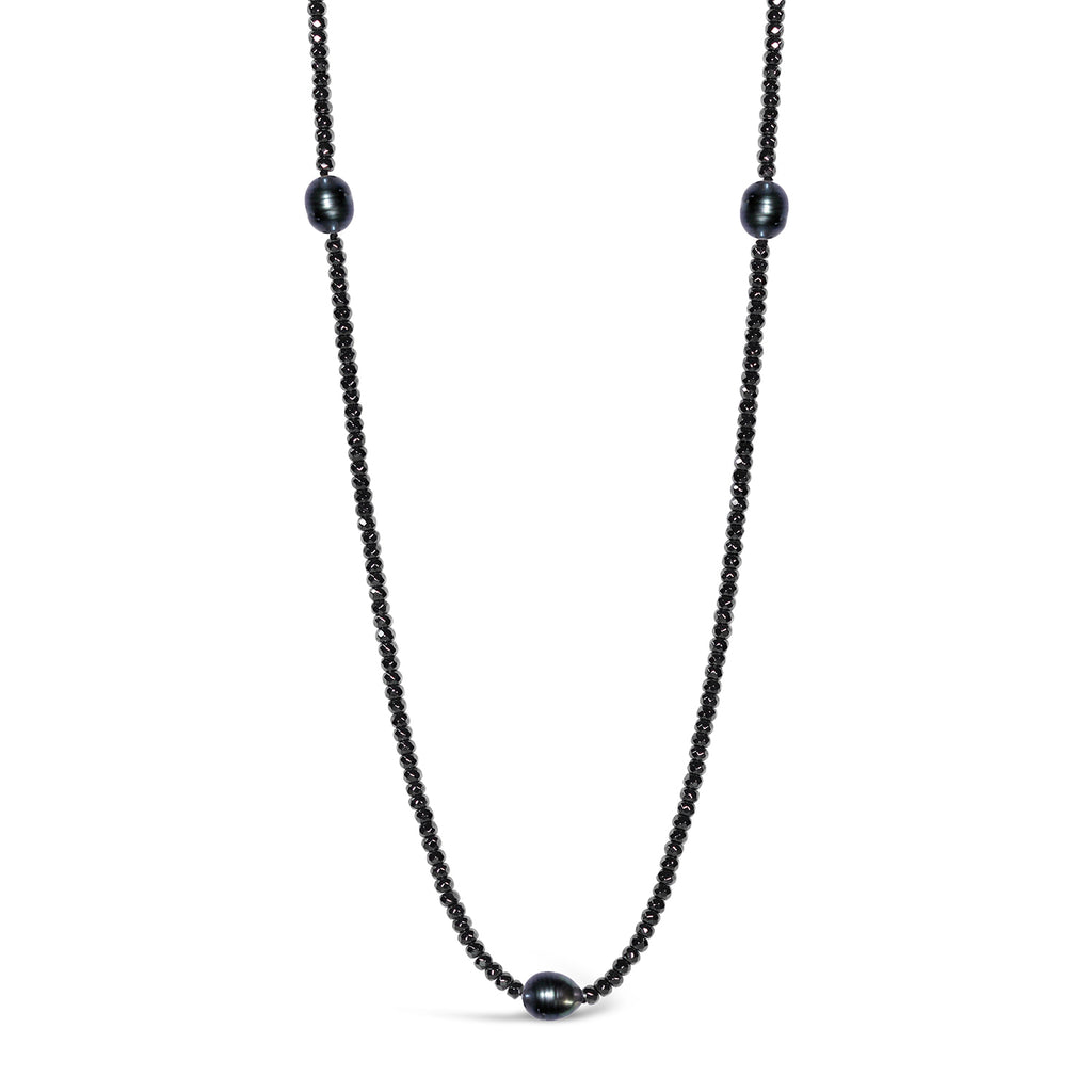 Long Freshwater Pearl & Haematite Necklace (Black)
