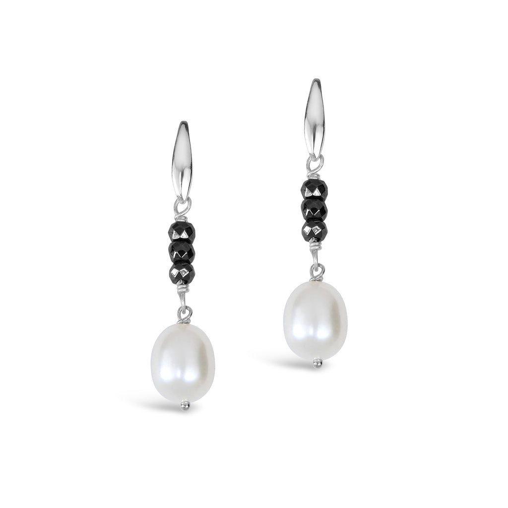 Baroque Pearl & Haematite Earrings (White)