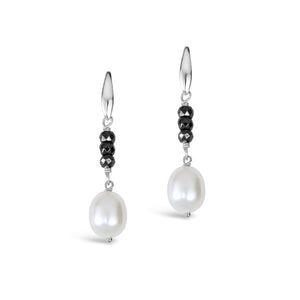 Real Freshwater Pearl & Haematite Earrings