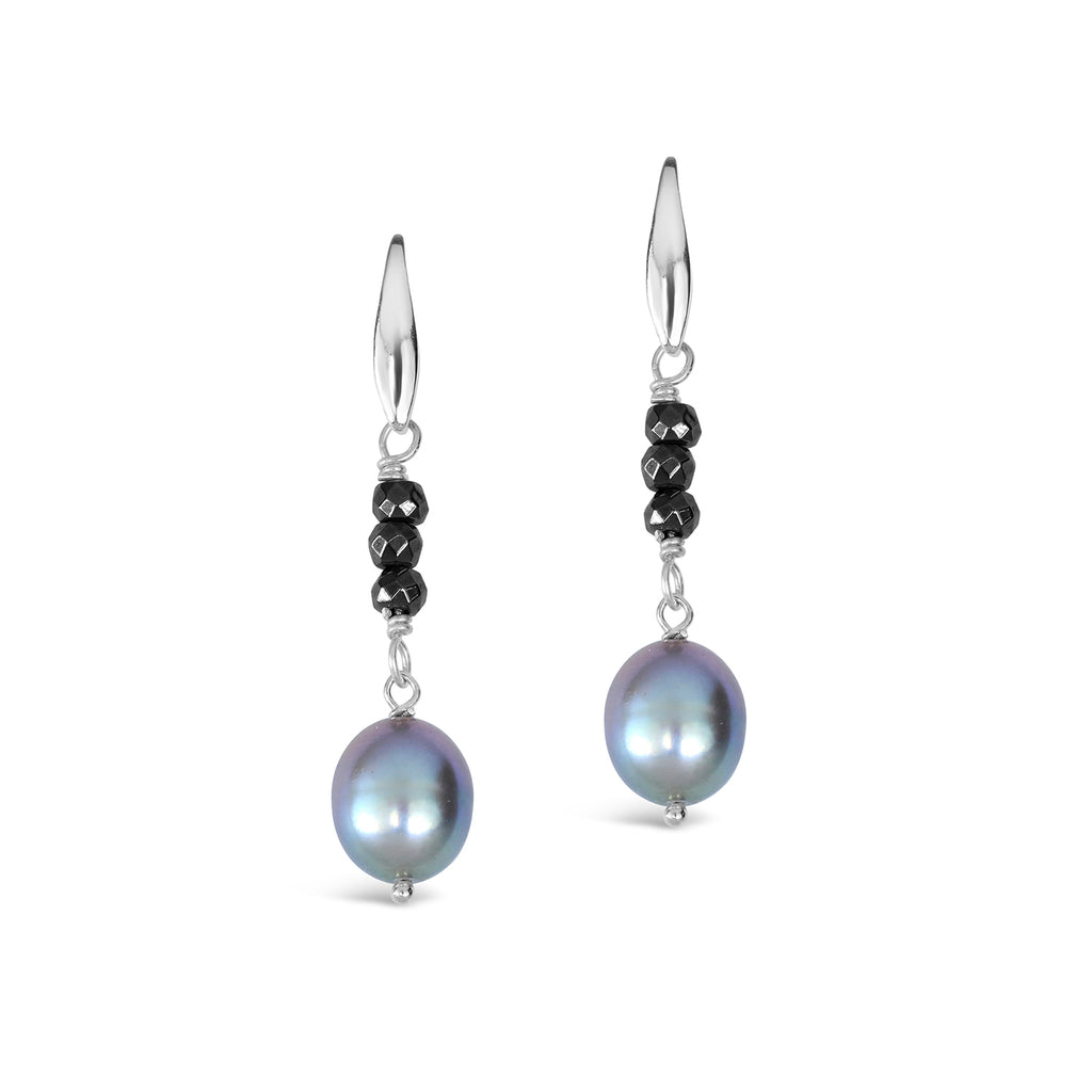 Baroque Pearl & Haematite Earrings (Grey)