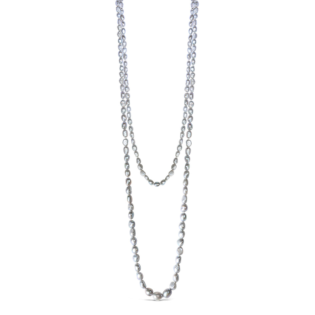 Long Baroque Pearl Freeform Necklace (Silver)