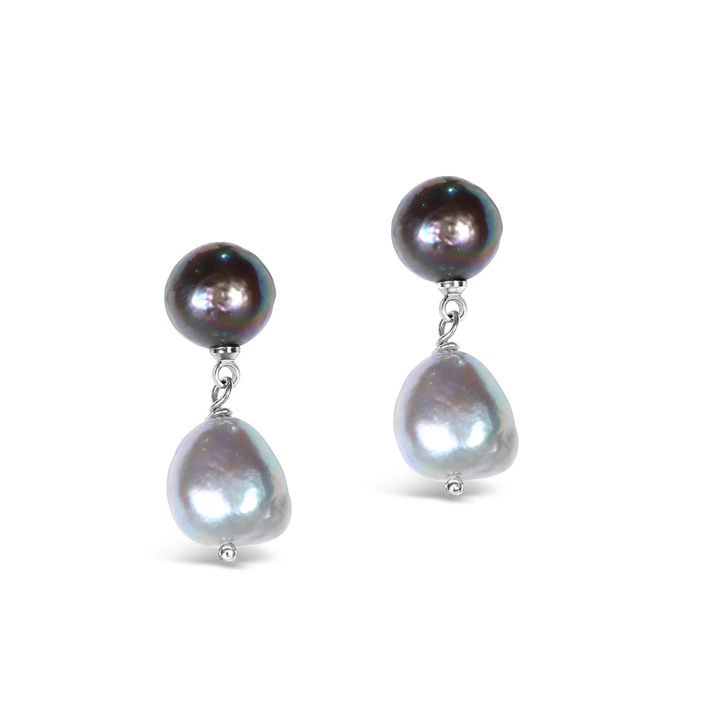 Real Freshwater Pearl Ombre Drop Earrings