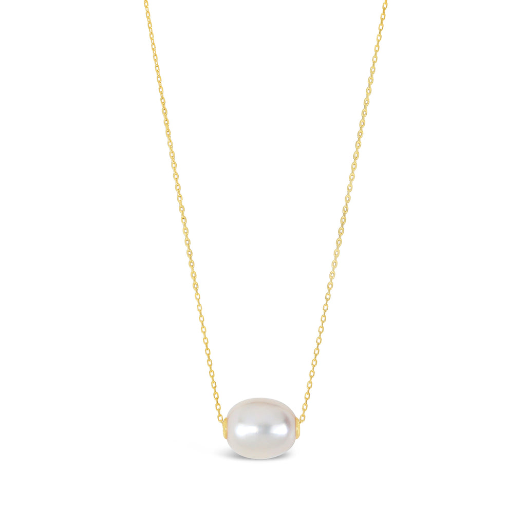 Princess-Length Slider Pearl Necklace (White and Gold)