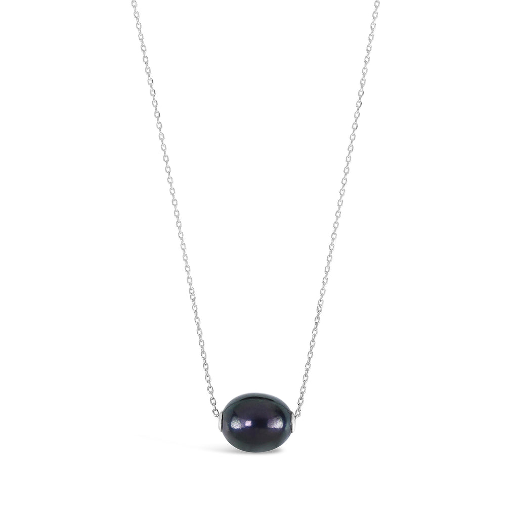 Princess-Length Slider Pearl Necklace (Black and Silver)